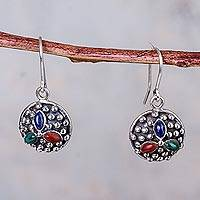Multigem dangle earrings, 'Colors of Cusco' - Peruvian Silver Earrings with Three Natural Gemstones