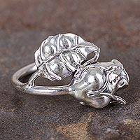 Silver flower ring, 'My Rose' - Polished 950 Silver Rose Cocktail Ring from Peru
