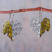 Serpentine dangle earrings, 'Grape Leaf' - Silver Leaf Theme Earrings with Andean Serpentine