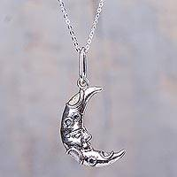 Silver pendant necklace, 'Wise Crescent Moon' - 950 Silver Moon Pendant Necklace Handcrafted in Peru