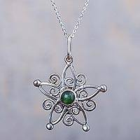 Quartz pendant necklace, 'Forest Snowflake' - Green Quartz and 950 Silver Fair Trade Necklace from Peru