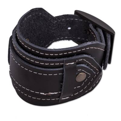 Artisan Crafted Black Leather Wristband Bracelet from Peru