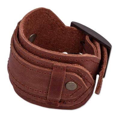 Brown Leather Artisan Crafted Unisex Wristband Bracelet
