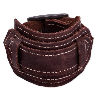 Unisex Dark Brown Leather Wristband Bracelet with Buckle
