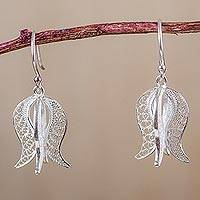 Sterling silver dangle earrings, 'Filigree Tulip' - Andean Sterling Silver Floral Filigree Dangle Earrings