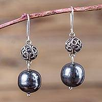 Sterling silver dangle earrings, 'Forest Fruit' - Peruvian Artisan Jewelry Sterling Silver Hook Earrings