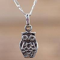 Sterling silver pendant necklace, 'Forest Owl' - Sterling Silver Owl Necklace Artisan Animal Theme Jewelry