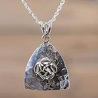 Sterling silver flower pendant necklace, 'Enchanted Rose' - Sterling Silver Rose Flower Pendant Necklace from Peru