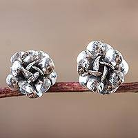 Sterling silver flower earrings, 'Fairy Roses' - Sterling Silver Rose Button Earrings from Peru