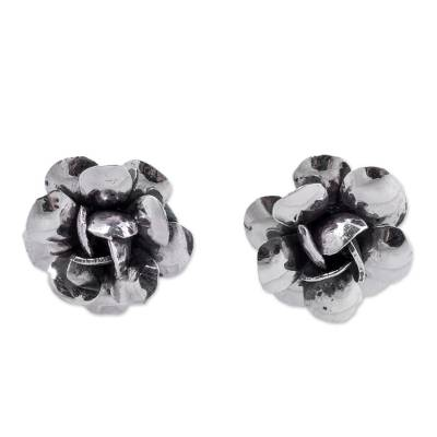 Sterling Silver Rose Button Earrings from Peru