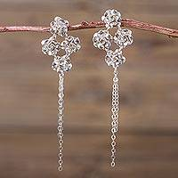 Sterling silver flower earrings, 'Roses of Light' - 925 Sterling Silver Rose Earrings Peruvian Jewelry