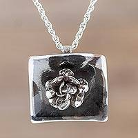 Sterling silver flower pendant necklace, 'Goth Rose' - Peruvian Hand Crafted 925 Sterling Silver Rose Necklace