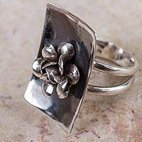 Sterling silver flower ring, 'Goth Rose' - Rose Ring Darkened Sterling Silver Peru Flower Jewelry
