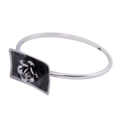 Darkened Rose Bracelet Sterling Silver Flower Jewelry