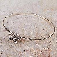 Sterling silver flower bracelet, 'Fairy Rose' - High Polished Sterling Silver Rose Bracelet Flower Jewelry