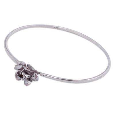 High Polished Sterling Silver Rose Bracelet Flower Jewelry