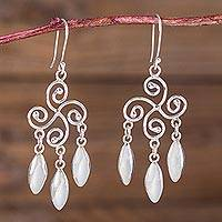 Sterling silver chandelier earrings, 'Murmur of Leaves' - Chandelier Peruvian Earrings Artisan Crafted 925 Jewelry