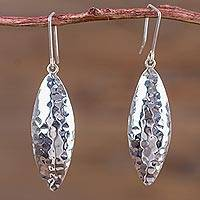 Sterling silver dangle earrings, 'Morning Dewdrops' - Modern Peruvian Hook Earrings Artisan Crafted 925 Jewelry