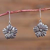 Sterling silver flower earrings, 'Surprising Blooms' - Flower Pendant Earrings Artisan Crafted 925 Silver Jewelry