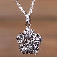 Sterling silver flower necklace, 'Surprising Bloom' - Flower Pendant Necklace Artisan Crafted 925 Silver Jewelry
