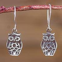 Sterling silver dangle earrings, 'Forest Owls' - Sterling Silver Owl Earrings Artisan Animal Theme Jewelry