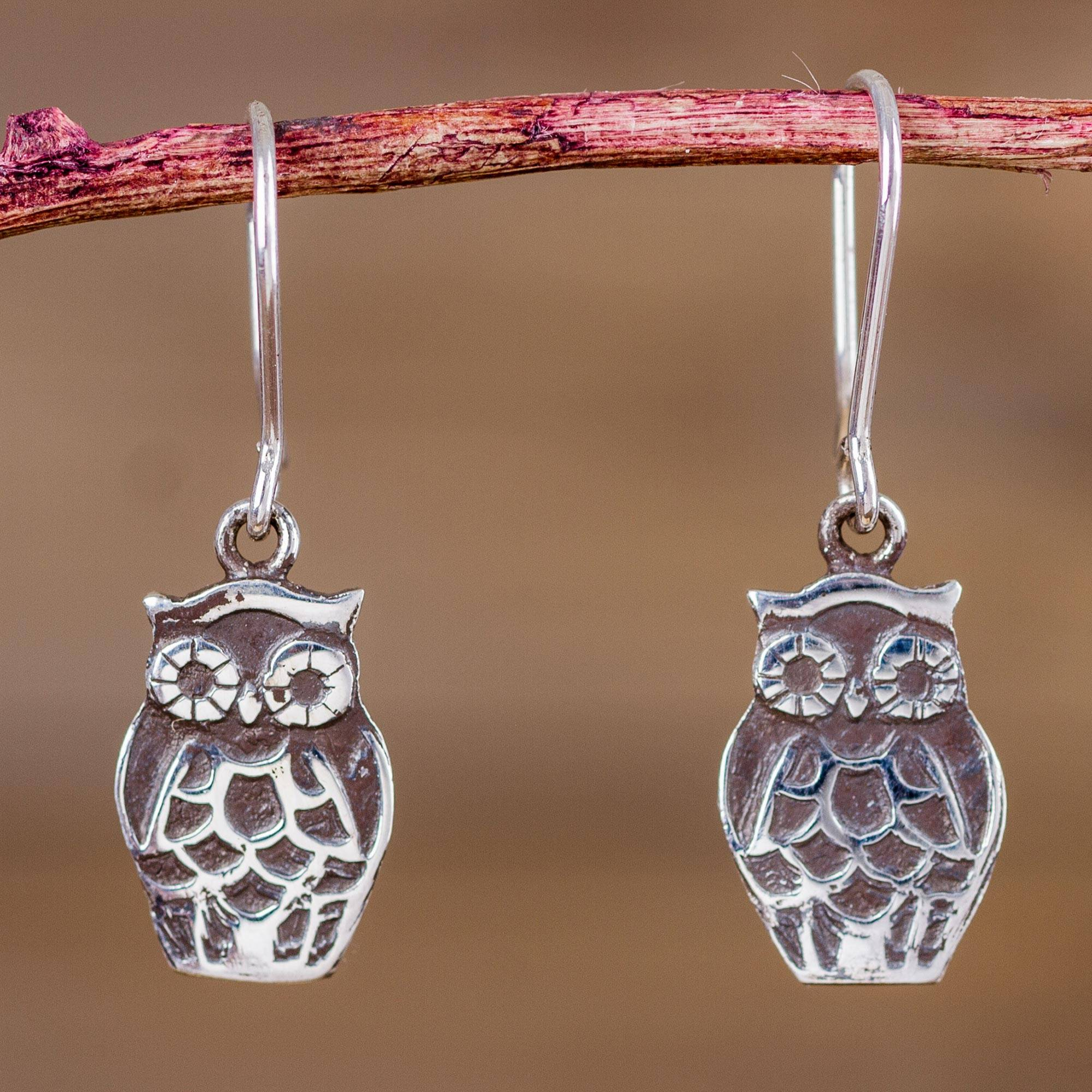 Sterling Silver Owl Earrings Animal Theme Jewelry Forest Owls