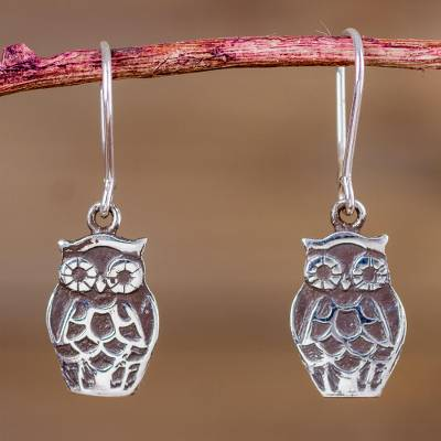 Sterling Silver Dangle Earrings Forest Owls Owl Animal