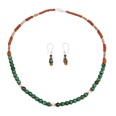 Inca Inspired Ceramic Jewelry Set with Sterling Silver