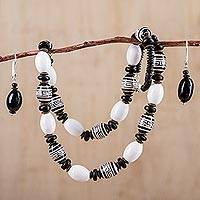 Ceramic jewelry set, 'Inca Message' - Black and White Handcrafted Ceramic Inca Jewelry Set