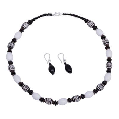 Black and White Handcrafted Ceramic Inca Jewelry Set
