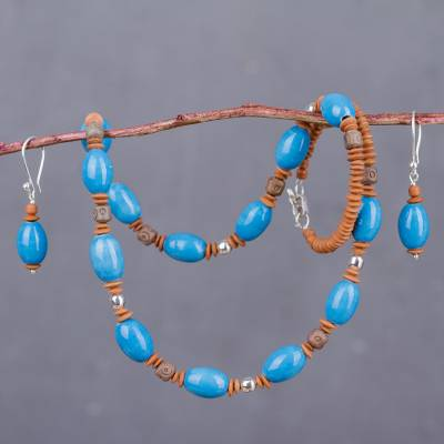 Ceramic jewelry set, 'Sky Above the Andes' - Peruvian Handcrafted Blue and Brown Ceramic Jewelry Set