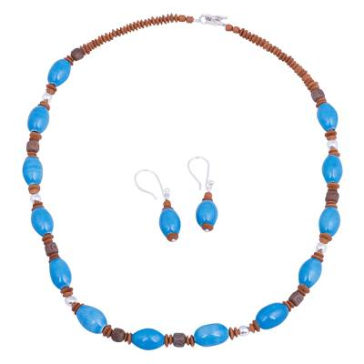 Peruvian Handcrafted Blue and Brown Ceramic Jewelry Set
