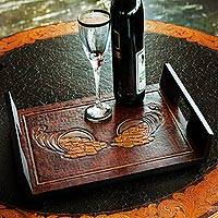 Wood and leather serving tray, 'Cornucopia of Coins' - Rectangular Tooled Leather Brown Wood Serving Tray