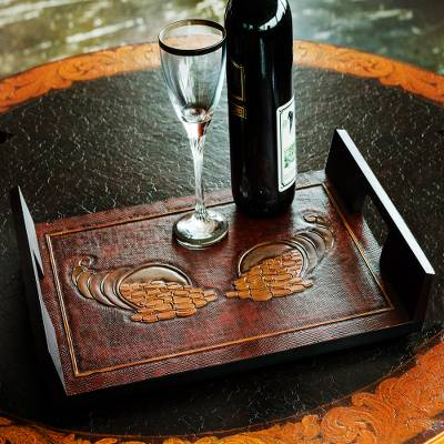 Rectangular Tooled Leather Brown Wood Serving Tray
