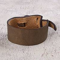 Leather wristband bracelet, 'Nazca Dark Camel' - Artisan Crafted Leather Bracelet in Dark Camel Brown