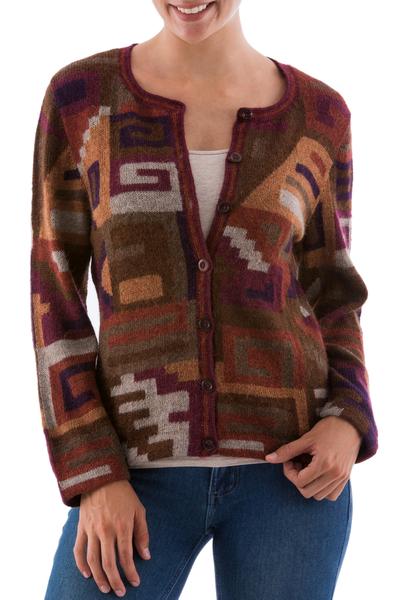 100% alpaca cardigan, 'Inca Grand Dame' - Peruvian 100% Alpaca Cardigan with Multicolor Inca Glyphs