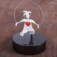 Aluminum sculpture, 'Harlequin Skipping Rope' - Romantic Sculpture of Harlequin Aluminum Metal Art from Peru