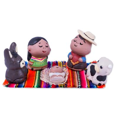 Artisan Crafted Colorful Ceramic Nativity Scene (5 Pieces)