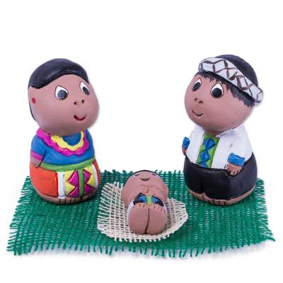 Hand Crafted 3-Piece Shipibo Ceramic Nativity Scene