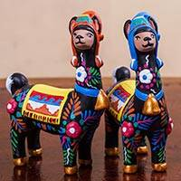 Ceramic statuettes, 'Llama Couple in Black' (pair) - Artisan Crafted colourful Ceramic Llama Statuettes (Pair)
