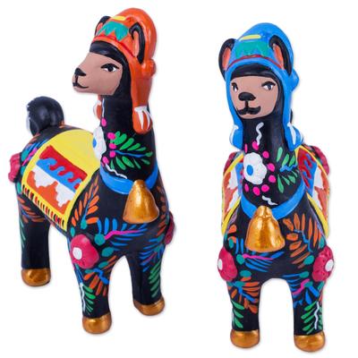 Ceramic statuettes, 'Llama Couple in Black' (pair) - Artisan Crafted colourful Ceramic Llama Statuettes (Pair)