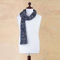 Alpaca blend scarf, 'Blue Boucle' - Peruvian Alpaca Blend Scarf in Blue and Grey Boucle