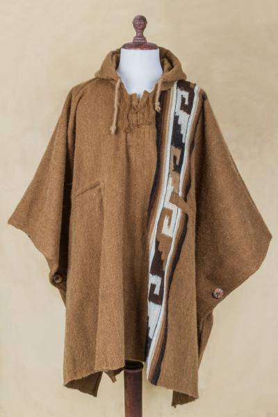 Men S Brown Alpaca Blend Hooded Poncho From Peru Andes