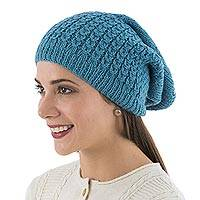 100% alpaca hat, 'Spearmint Spice' - Warm Blue Beanie Hat Knitted in Peru of Soft Alpaca Wool