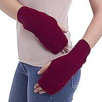 100% alpaca fingerless mitts, 'Cherry Leaves' - Soft Alpaca Wool Bright Red Fingerless Mitts Knitted in Peru