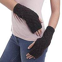 100% alpaca fingerless mitts, 'Tamarind Swirl' - Soft Alpaca Wool Warm Brown Fingerless Mitts Knitted in Peru