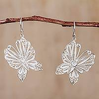 Sterling silver filigree dangle earrings, 'Butterfly Glam' - Peruvian Filigree Butterfly Earrings in 925 Sterling Silver