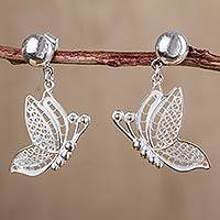 Sterling silver filigree dangle earrings, 'Flutter' - Filigree Butterfly Earrings 925 Sterling Silver Peru Jewelry