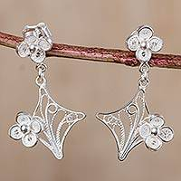 Sterling silver filigree dangle earrings, 'Flower in the Window' - 925 Filigree Flower Earrings Hand Crafted in Sterling Silver