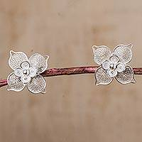 Sterling silver filigree flower button earrings, 'Lavish Blossoms' - 925 Sterling Silver Button Earrings with Filigree Flowers